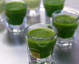 Five wheatgrass drink glasses with a crisp green color, two clear front shots and three blurred in the background