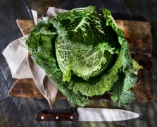 massaging kale tips