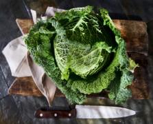 massaging kale tips