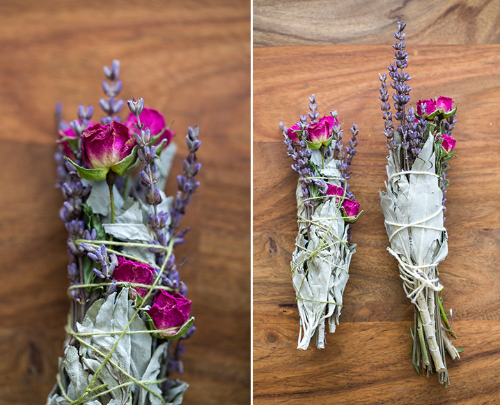 Split photo with a close-up shot on the left and medium shot on the right of floral smudge sticks with sage, lavender and rose