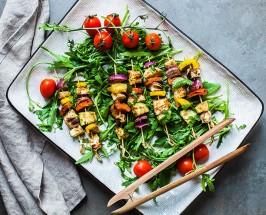 Marinated Halloumi Kebabs With Rocket And Tomato Salad