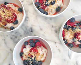 The Modern Vegan: Rose-Infused Coconut Cream With Berries + Cashew Crumb