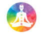 A shape of a body, placed inside a colorful circle, displayed in meditation position with the seven different chakras on it