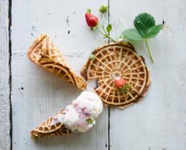Homemade Waffle Cones with Hazelnut Flour + Maple Syrup (Ice Cream Optional)