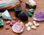 Close-up of crystals and stones for travel of different shapes, sizes and colors