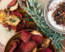 Baked Beet Chips+ Sweet Potato Fries With Avocado Dip