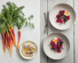 Split photo with carrots and ricotta on the left and hard boiled eggs and beets on the right