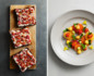 Split photo with ricotta and radish toast on the left and citrus salad topped with edible flowers on the right