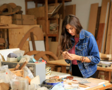 jewlery maker sophie monet inside her venice california studio