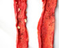 Close-up of 2 strips of watermelon jerky on white background