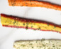 Close-up shot of long stems of dehydrated carrot chips