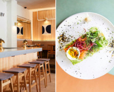 Split photo with a restaurant counter lined with high stools on the left and a plate with avocado toast, smoked salmon and hard-boiled egg on the right
