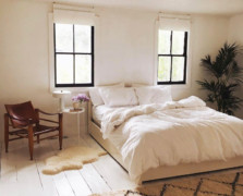 white and beige bedroom with organic sheets
