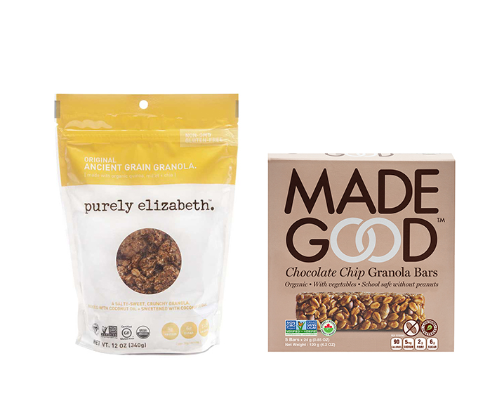 Bag of Purely Elizabeth granola next to a box of Made Good chocolate chip granola bars