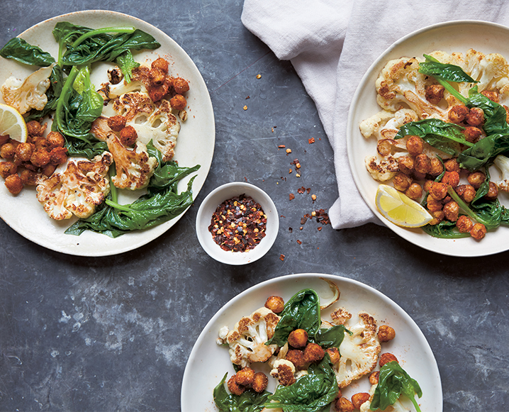One-Pan Perfection: Warm Cauliflower Salad With Spiced Chickpeas