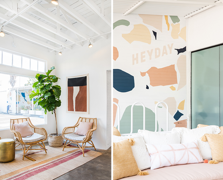 Split photo with Heyday Spa lounge on the left and close-up of their wallpapered wall on the right